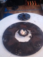 Broken up damper plate. Please don't ask me how Pee Wee's head got in there.